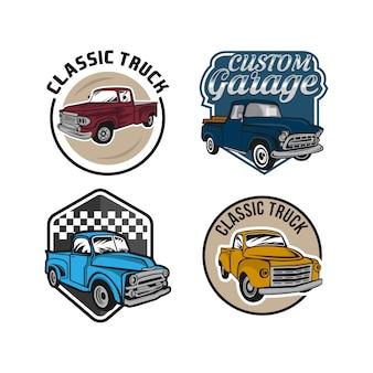 Установить ретро автомобиль ремонт гараж знак с ретро-стиле грузовик.