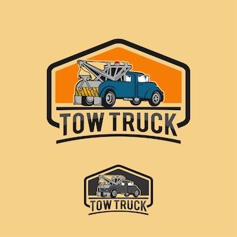 車牽引トラックエンブレム、ラベルおよびデザイン要素、ピックアップトラックのロゴ、エンブレム、アイコン。