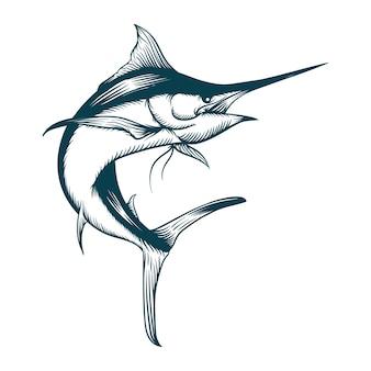 マーリン魚のシルエットイラスト