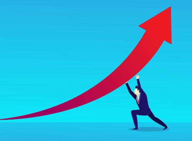 ビジネスマンの概念のイラスト人が成功のために矢印を挙げる