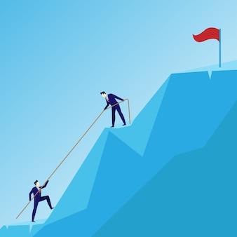 ビジネスマンのコンセプトリードチームグループの成功への登り