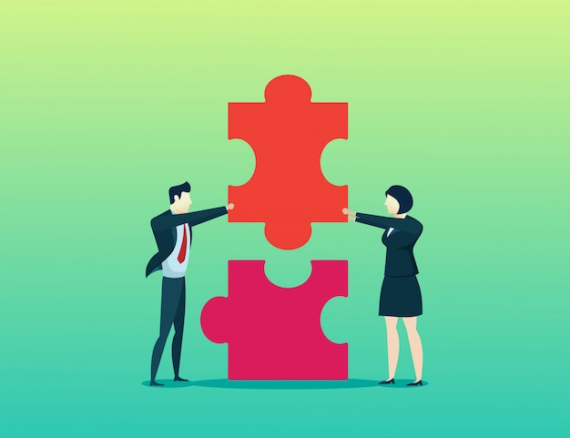 人コンセプトビジネスマンと女性が一緒にパズルを立ち上げる