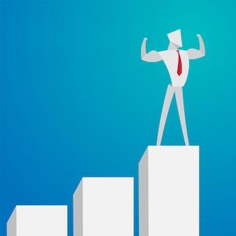 ビジネスマンのコンセプト強いビジネスマンが勝者の折り紙の紙のスタイルに行く