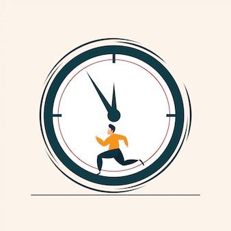 Люди бегут концептуальные часы с плоским