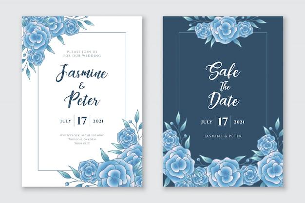 青いバラの結婚式の招待状のテンプレート
