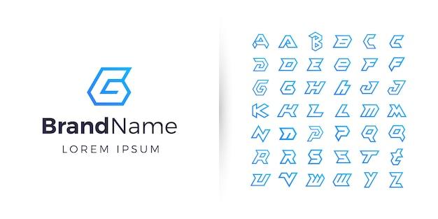 幾何学的なアルファベットのロゴのコレクション