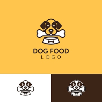 ボーンとボウル付きのシンプルでかわいい犬のロゴ