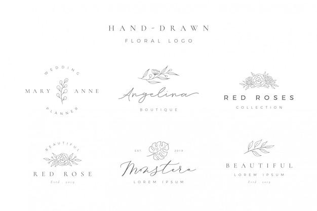Минималистский ручной обращается цветочный логотип