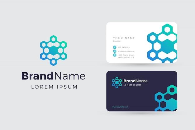抽象的なブロックチェーンのロゴと名刺