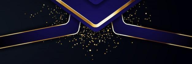 Блеск фонового света с современным баннером золота