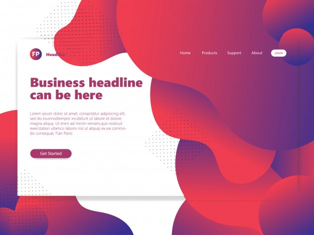 赤い流体の形状ウェブサイトのランディングページのグラデーション