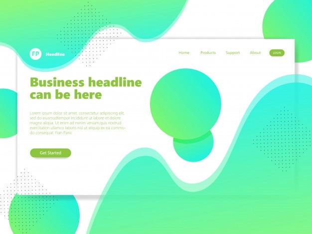 ランディングページテンプレート緑色のグラデーションカラー