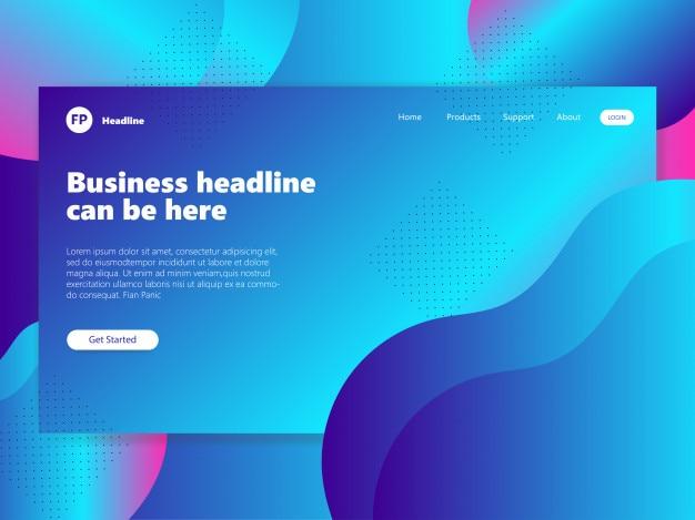 抽象的な幾何学的デザインの背景のランディングページの青い勾配