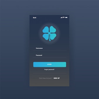 モバイルスクリーンダッシュボードアプリ無料のログインページ