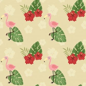 Бесшовный узор милый фламинго и цветок гибискуса.