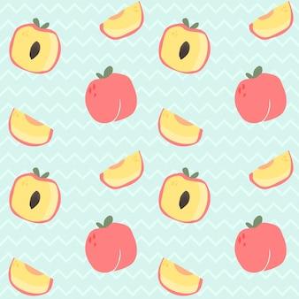 シームレスパターン手は、桃の小片を描きます。