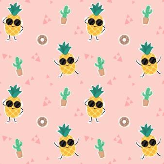 Бесшовный фон ананас.