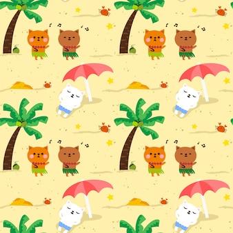 ビーチでのシームレスなパターンかわいい猫ハワイパーティー。