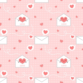 シームレスパターンの心と手紙