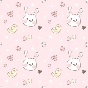 シームレスパターンのひよことウサギ