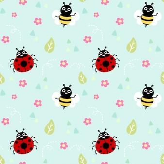 シームレスパターンてんとう虫と蜂