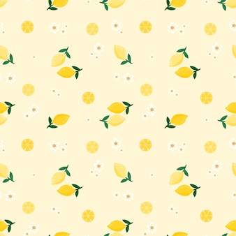 シームレスパターンレモンと花