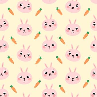 シームレスパターンピンクのウサギ