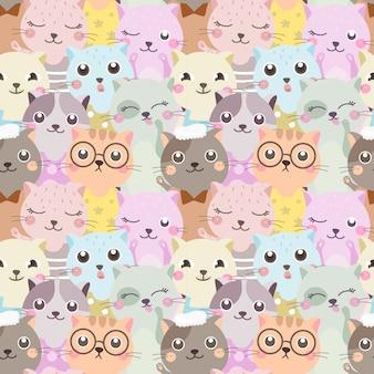 シームレスパターンのカラフルな猫