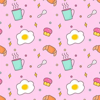 シームレスパターンの朝食アイテム
