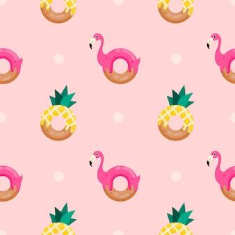 Бесшовный узор милый пончик