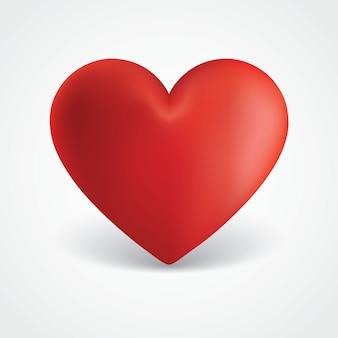 大きな赤いバレンタインハートイラスト