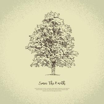 手描きの木。スケッチデッサンイラスト地球を救う緑に行く