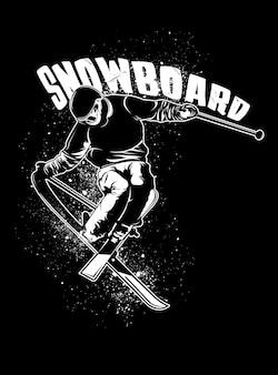 スノーボードをする男