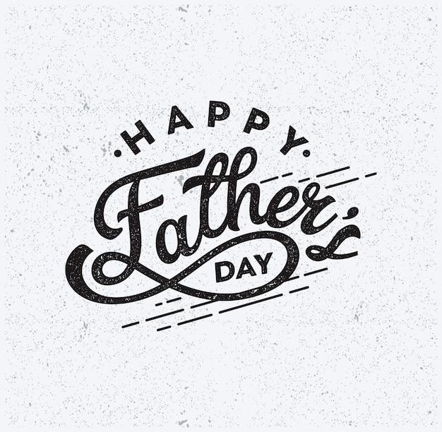 Счастливый день отца текст типография винтаж вектор