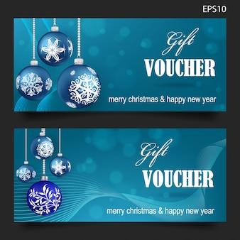 青い背景にクリスマスプレゼントバウチャー
