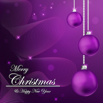 無料の美しい紫色のクリスマスの背景のクリップアート