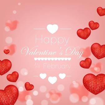 心は、バレンタインの背景ベクトルを飛ぶ