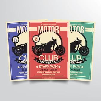 モータークラブ記念日チラシテンプレートベクトル