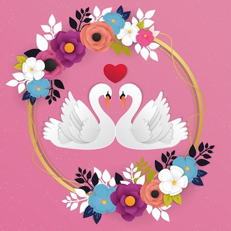 ガチョウの愛のアイコンと花の背景のベクトル