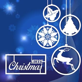 抽象的な青色の背景に雪片クリスマスの装飾