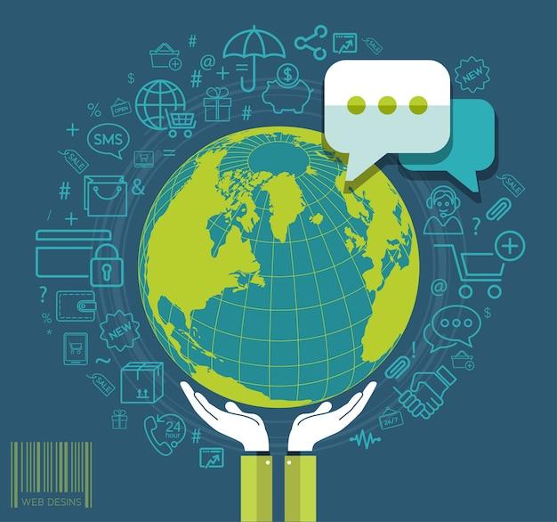 ソーシャルメディアのアイコンで地球を保持している人間の手