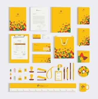 黄色の企業のビジネス文具セット