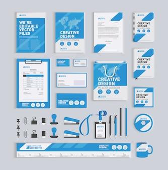 青い幾何学的なコーポレートアイデンティティデザインテンプレート