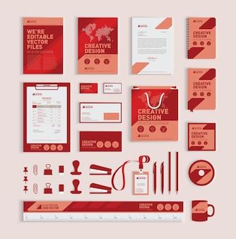 赤い幾何学的なコーポレートアイデンティティデザインテンプレート