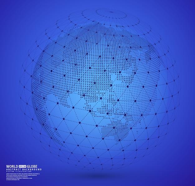 ワイヤーフレームの地球儀