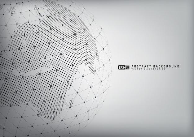 ワイヤーフレームを持つ抽象的な地球の地球