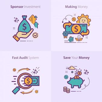 ビジネスと金融のアイコンセットのコンセプト