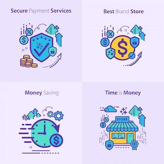 銀行と金融のアイコンセットコンセプト