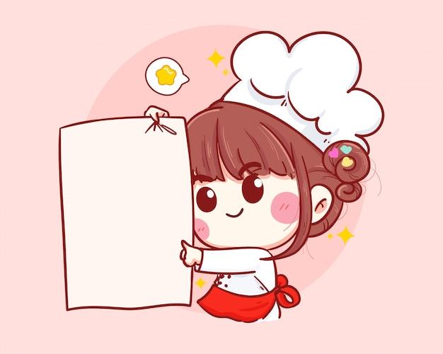 Милый шеф-повар улыбается и держит белую бумагу