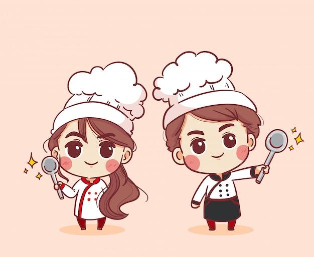 笑顔で幸せな女性シェフと男性シェフ。女性シェフと男性シェフが料理しています。手描きイラスト。